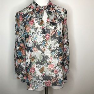 LC Lauren Conrad Top Size Small Sheer Floral